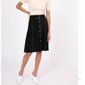 Theory 100% leather suede snap down skirt